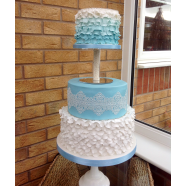 Blue and White Multi Tiered Cake