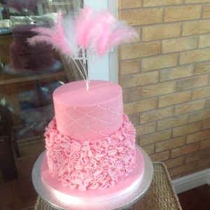 2 Tier Pink 40th Birthday Cake