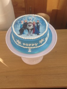 frozen cake with edible print topper,