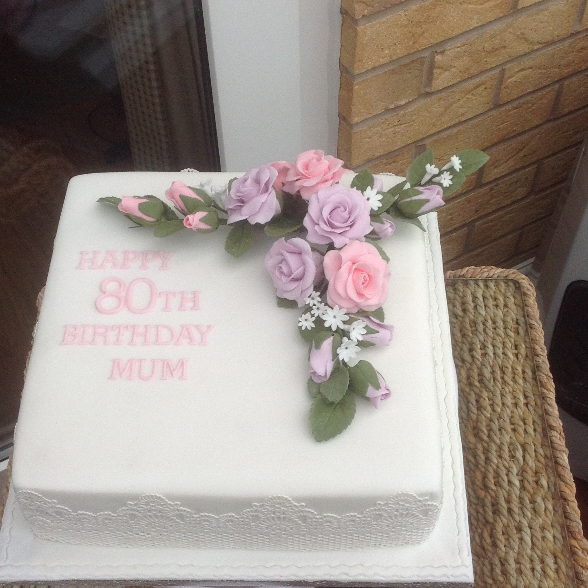 8 Inc Square 80th Birthday Cake With Hand Made Flowers