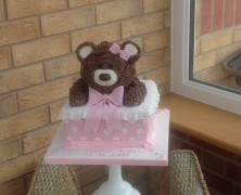 Teddy bear in a box christening cake